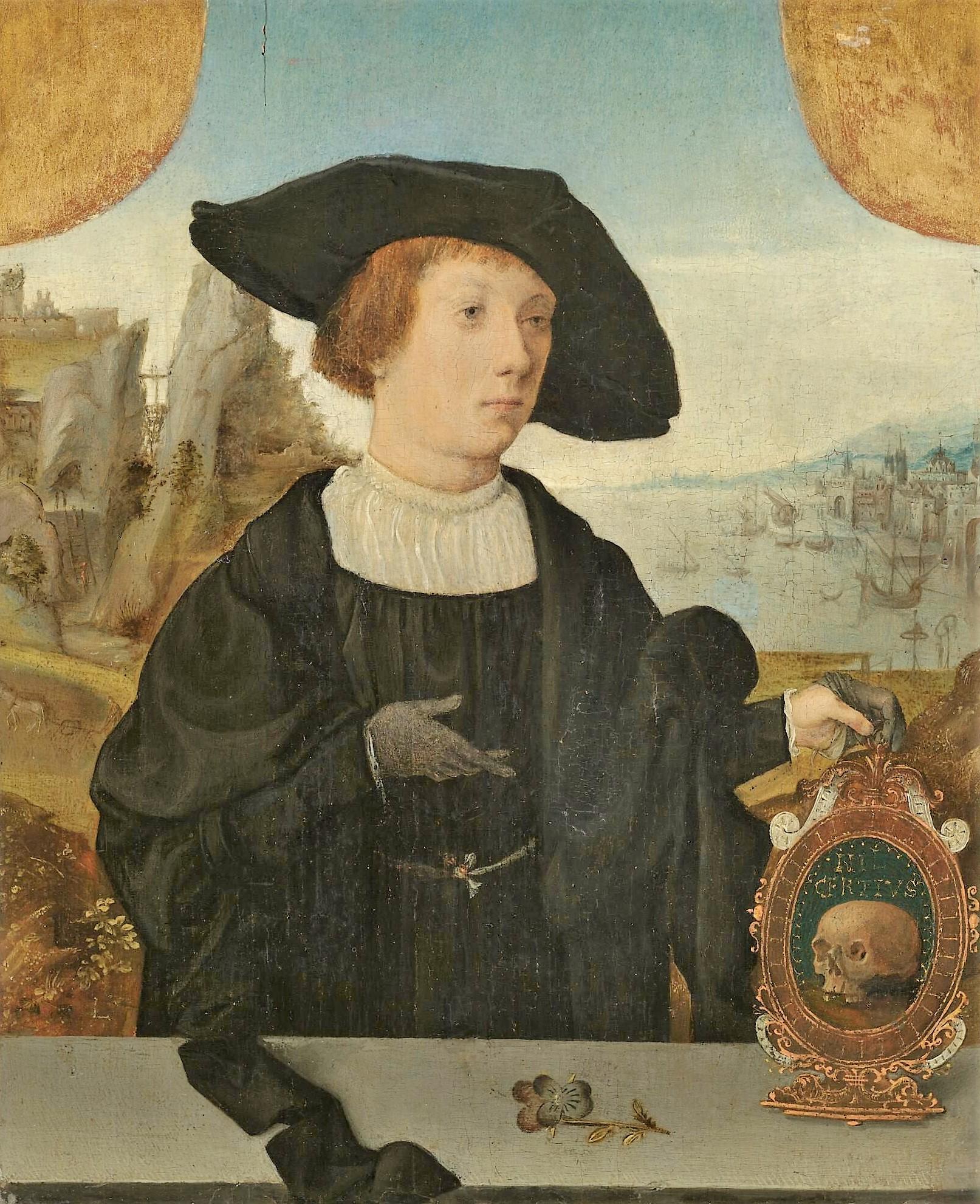 Attr Jan Jansz. Mostaert 1525 ca Portrait d'un jeune homme tenant un memento mori coll priv