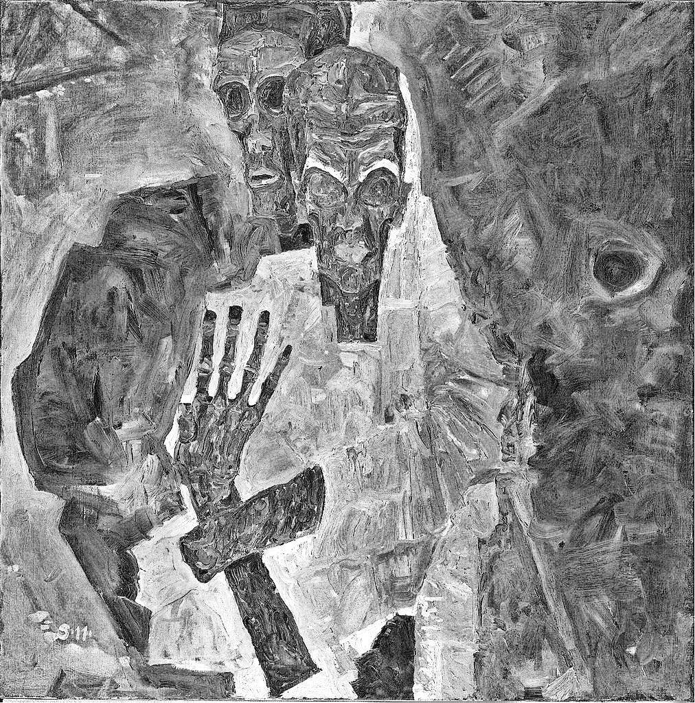 Egon Schiele 1911 Die Selbstseher II_(Death_and_Man) Leopold Museum Vienne inverse