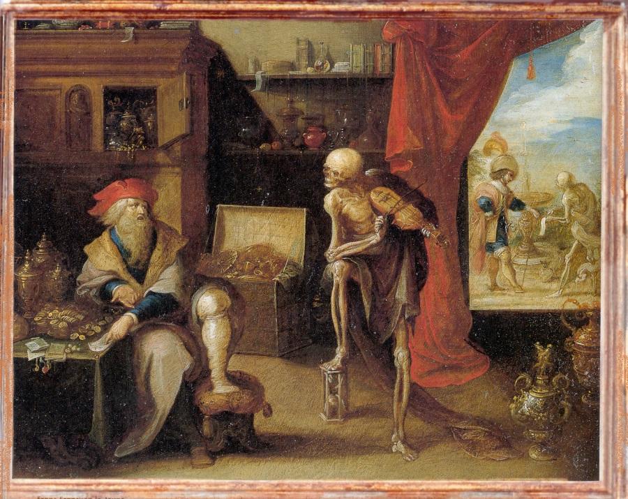 Frans Francken II, La mort demande au vieil homme de faire une derniere danse, 1635, Musee Banque nationale Belgique