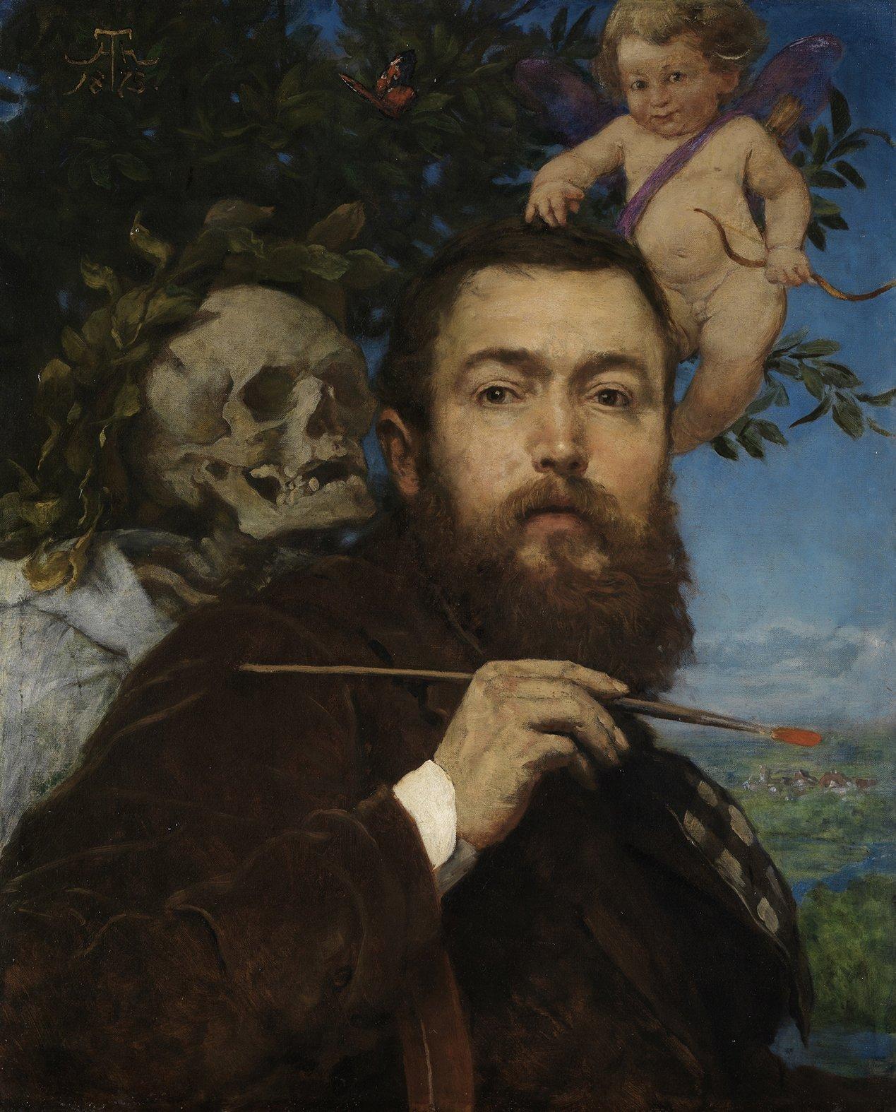 Hans_Thoma 1875 Selbstbildnis_mit_Amor_und_Tod Staatliche Kunsthalle Karlsruhe