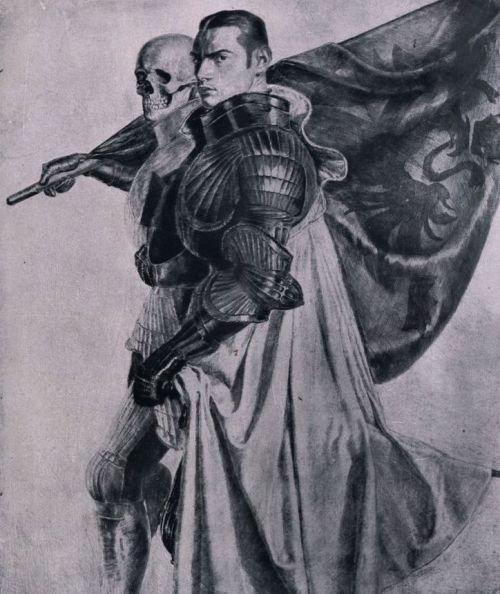 Ivo Saliger 1918 Der Krieger (Selbstbildnis als Ritter mit dem Tod)