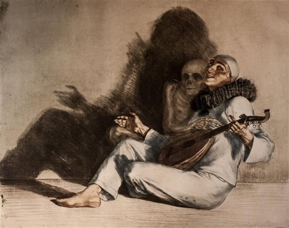 Ivo Saliger 1920 ca Pierrot et la mort gravure
