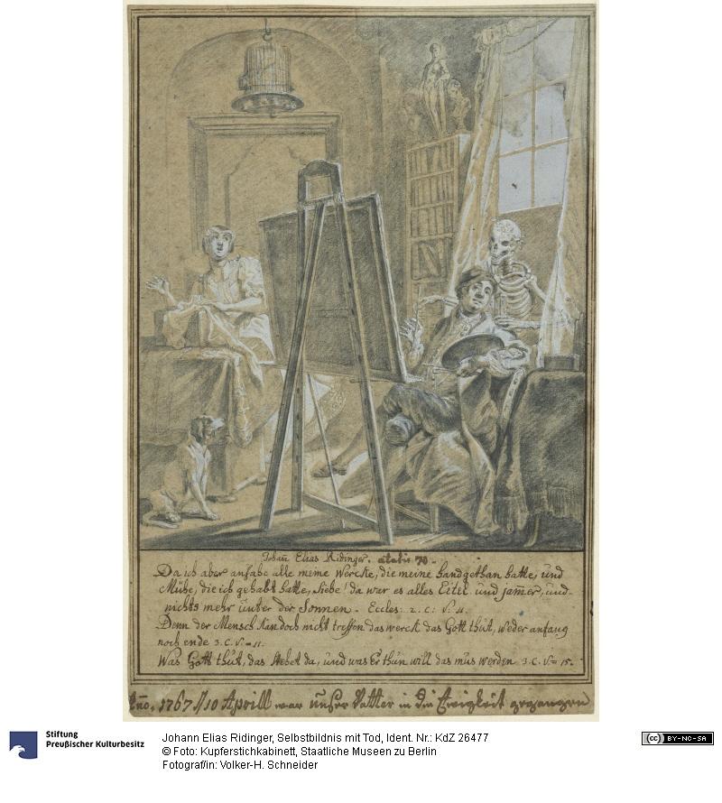 Johan Elias Ridinger 10 avril 1767 Selbstbildnis-mit-Tod-SMB-PK-Kupferstichkabinett