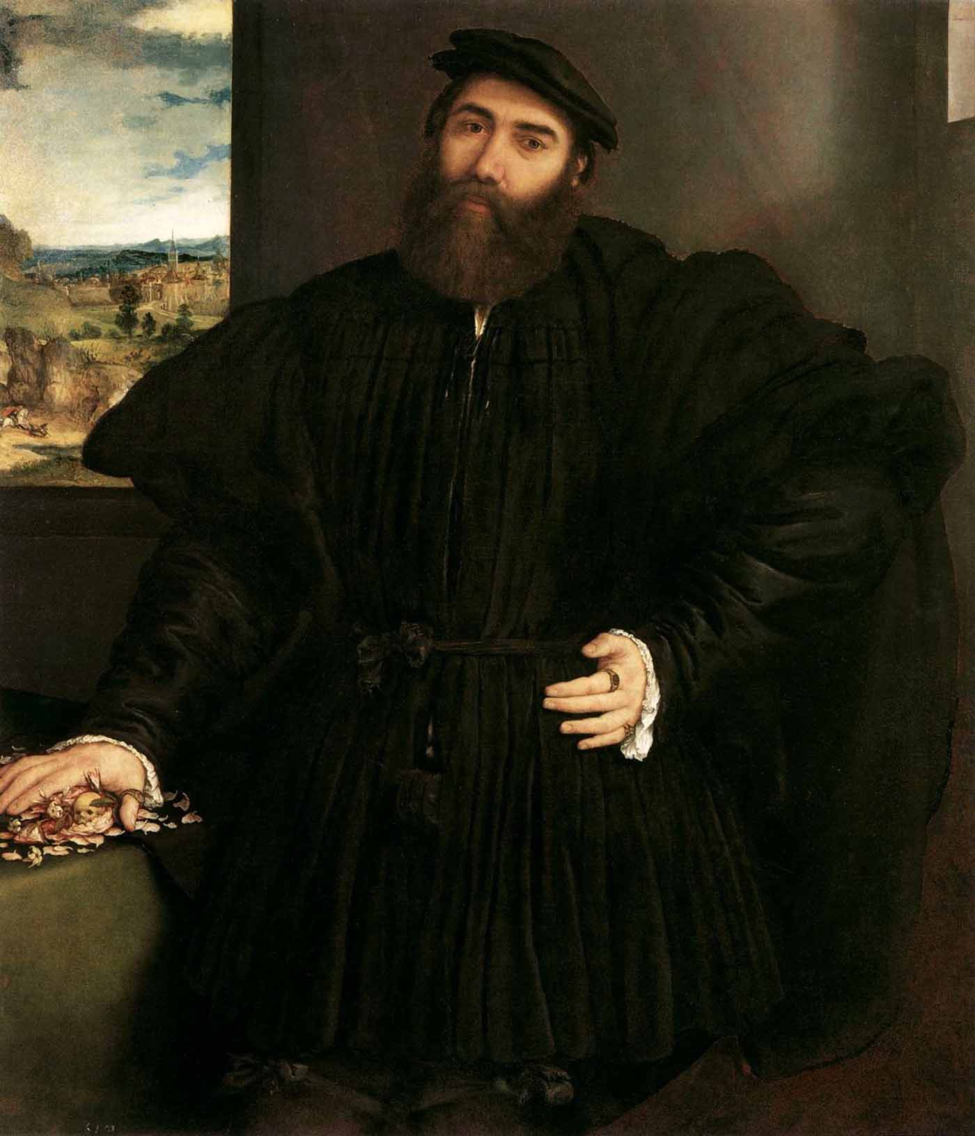 Lorenzo Lotto, Portrait of a Man, c. 1535. Rome, Galleria Borghese.