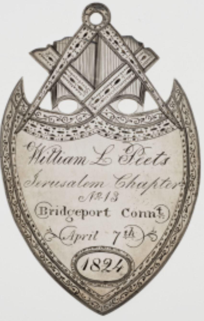 Mark Medal made for William L. Peets, 1824. Connecticut Scottish Rite Masonic Museum Lexington