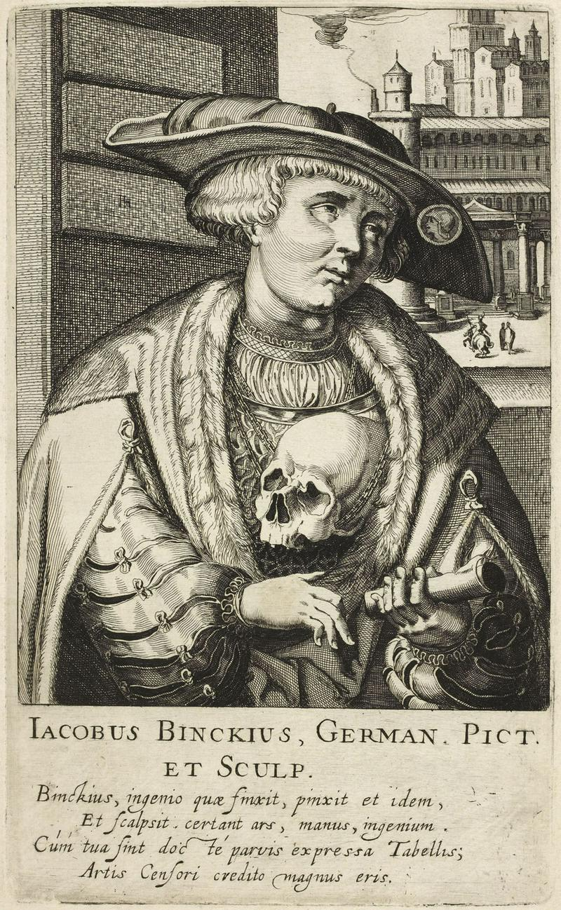 Portrait of Jacob Binck engraved after self-portrait by Simon Frisius um_1611