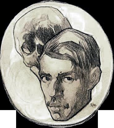 Saturnino Herran Autorretrato_con_calavera_(c._1918)