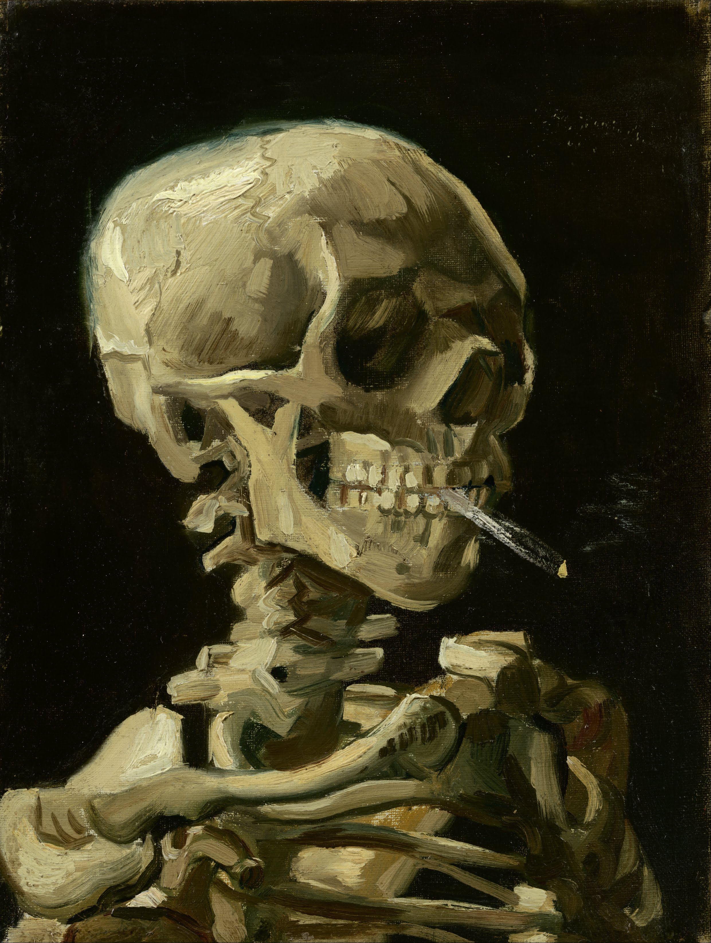 Vincent_van_Gogh 1886 January-February Head_of_a_skeleton_with_a_burning_cigarette Van Gogh Museum (F0212) 24.5 x 32 cm ×
