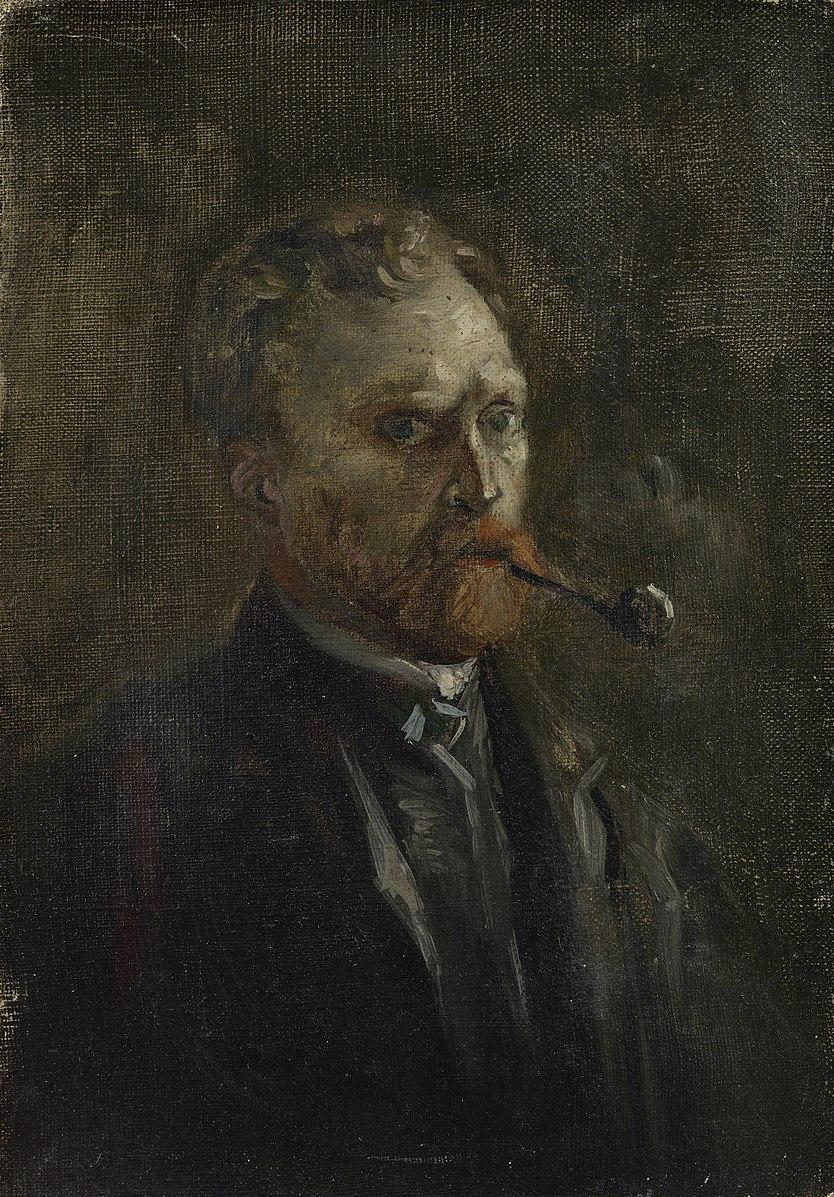 Vincent_van_Gogh 1886 Printemps Paris Autoportrait à la pipe Van Gogh Museum F0208 27,2 cm x 19,0 cm