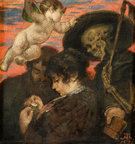 hans-thoma 1876 amor-und-tod-(cupid-and-death) coll priv