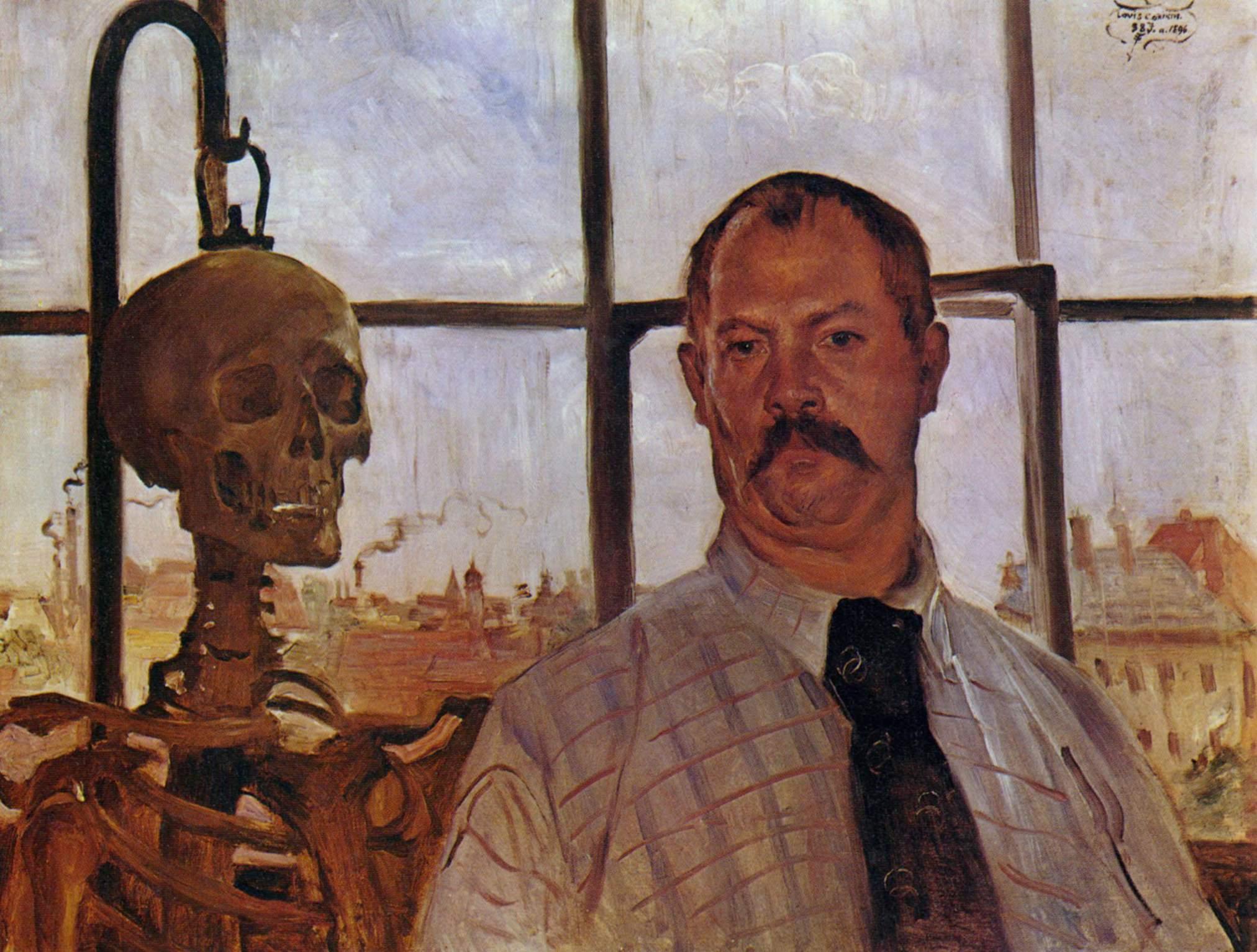 lovis corinth Autoportrait avec un squelette 1896 Lenbachhaus Munich