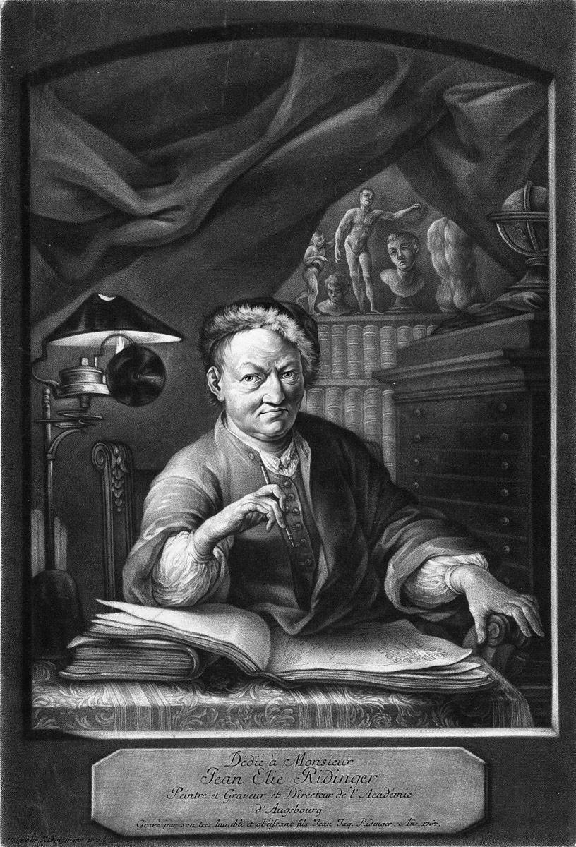 mezzotinte de Johann Jacob Ridinger_Bildnis_Johann_Elias_Ridinger 1767
