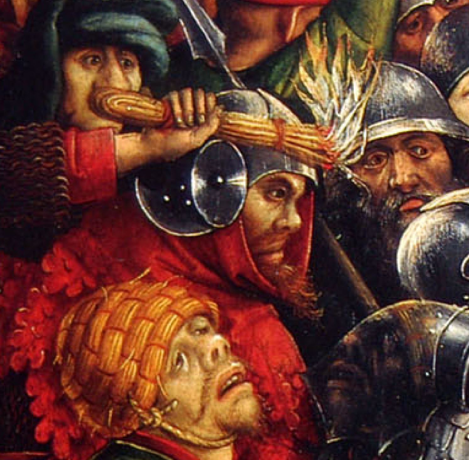 1450 ca Master_of_the_Karlsruhe_Passion Arrest_of_Christ Wallraf–Richartz Museum Cologne detail 2
