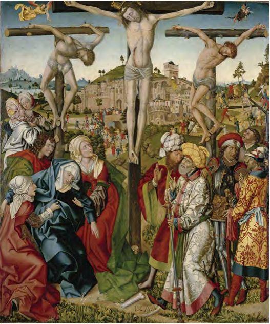 1477 Master of 1477, Calvary, Bayerische Staatsgemaldesammlungen, Augsburg,