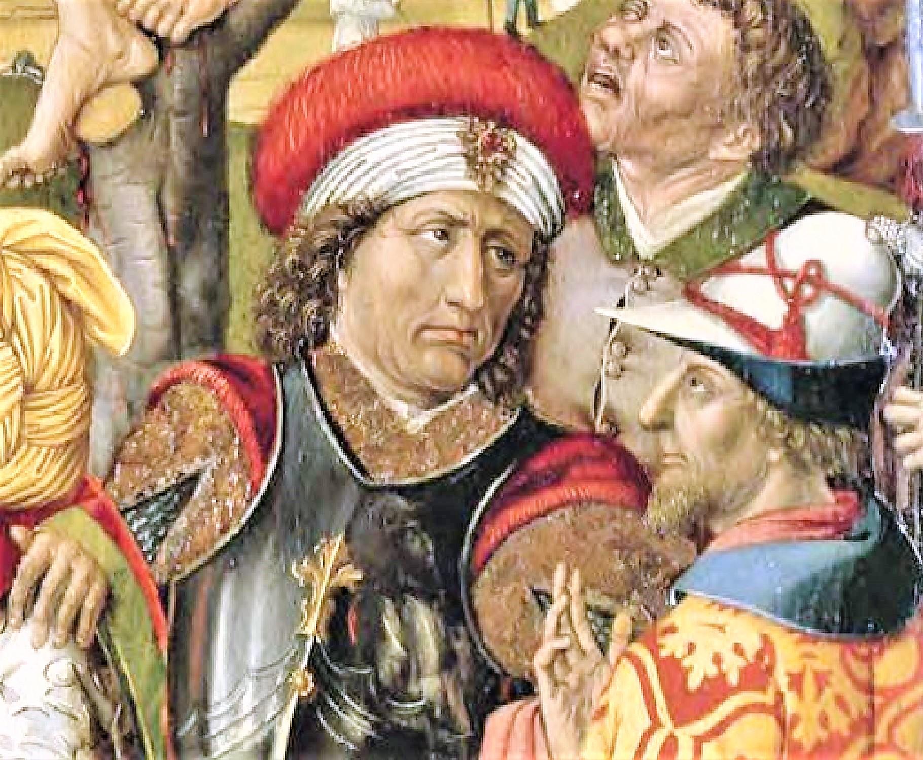 1477 Master of 1477, CalvaryBayerische Staatsgemaldesammlungen, Augsburg reflet detail