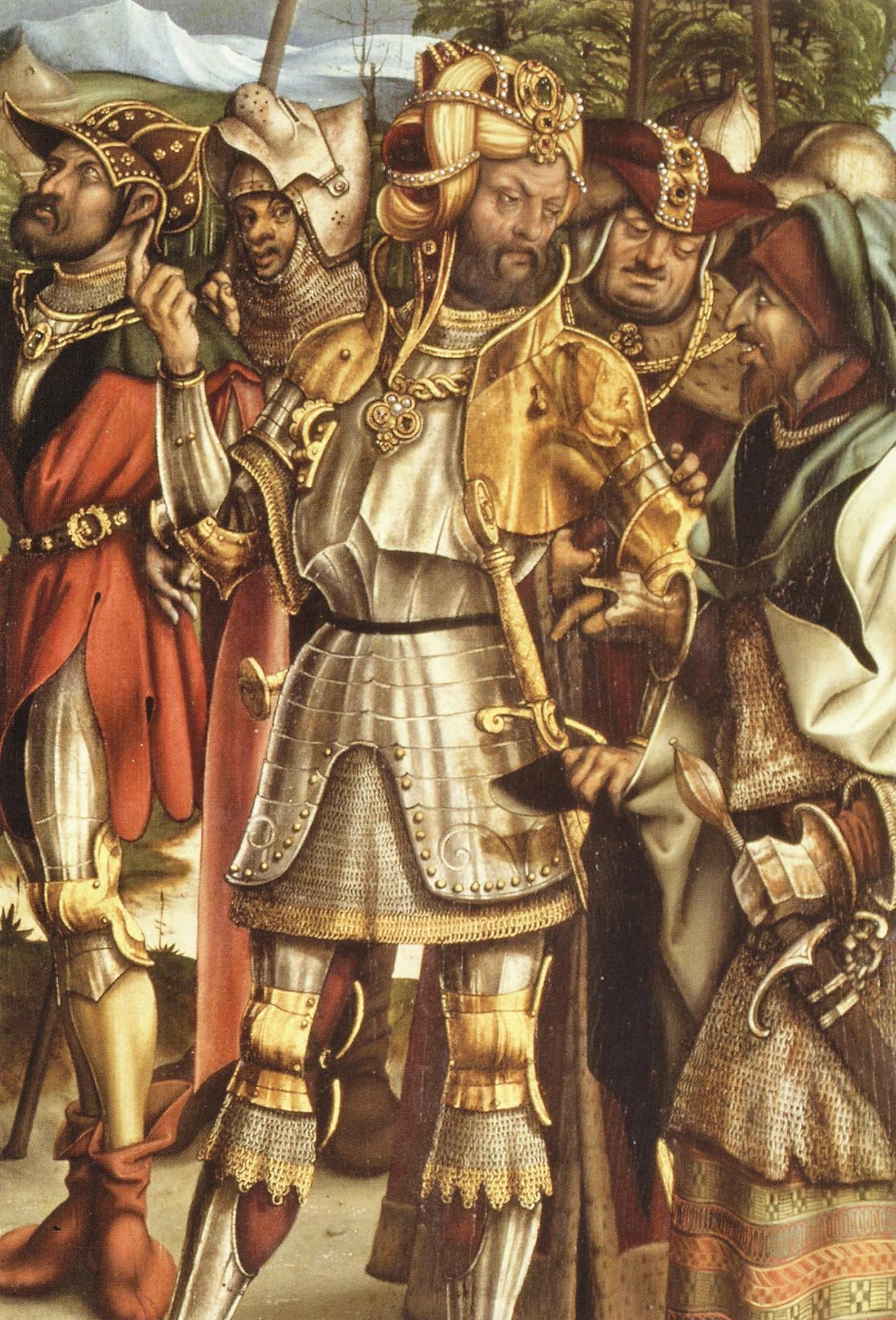 1504, Burgkmair_S. Croce in Gerusalemme, Bayerische Staatsgemaldesammlungen, Augsburg centurion,