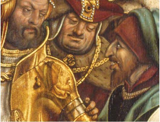 1504, Burgkmair_S. Croce in Gerusalemme, Bayerische Staatsgemaldesammlungen, Augsburg reflet sur cuirasse bon centurion,