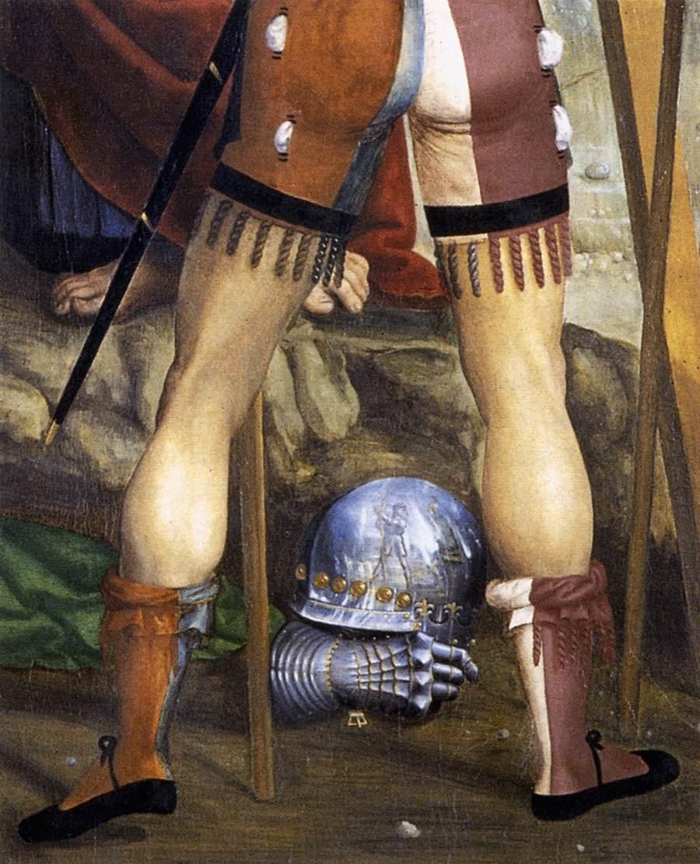 1510 Sodoma,Descente de croix, Pinacoteca nazionale, Sienne chapelle Cinuzzi eglise San Francesco detail casque