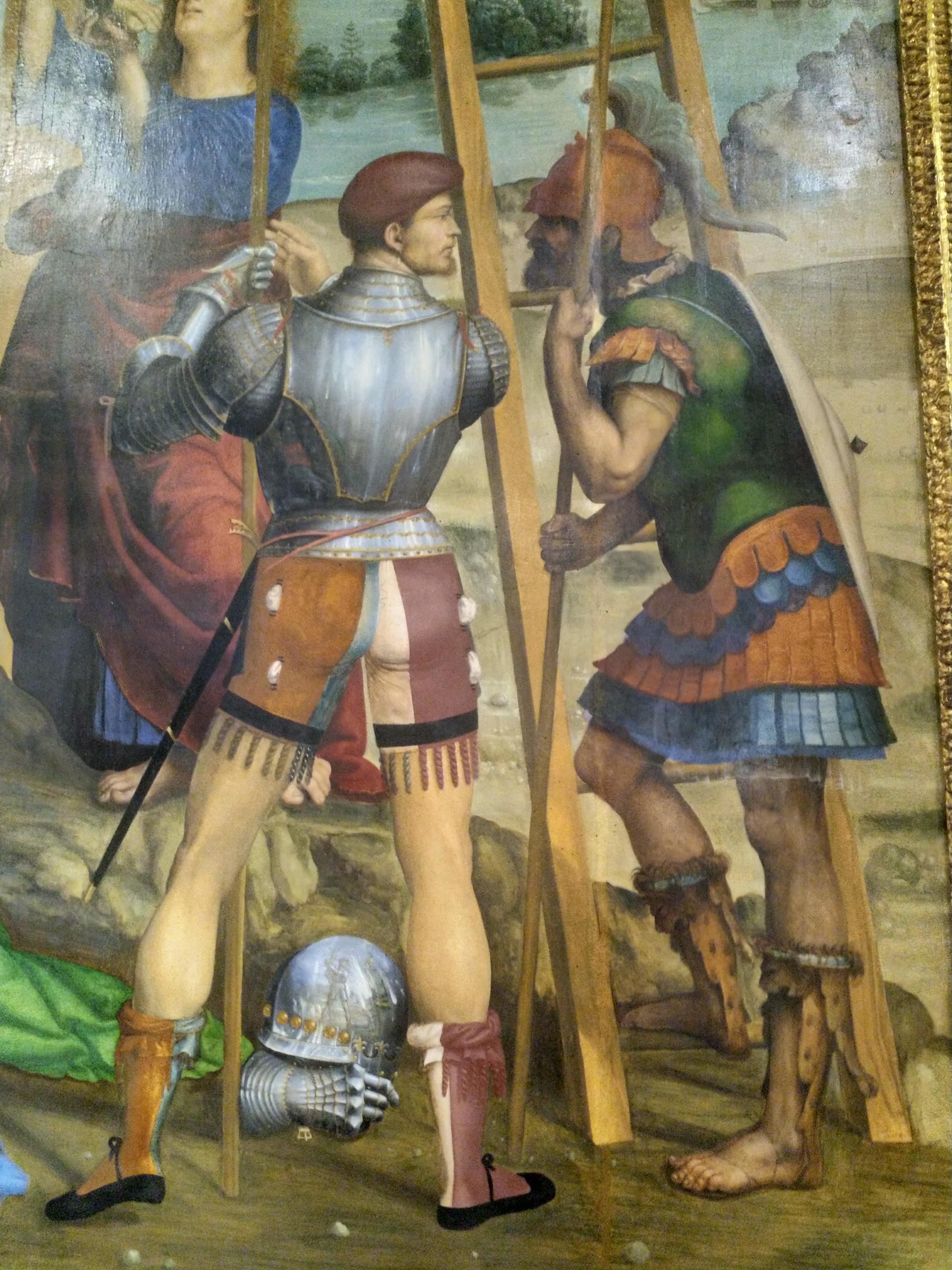1510 Sodoma,Descente de croix, Pinacoteca nazionale, Sienne chapelle Cinuzzi eglise San Francesco detail soldat