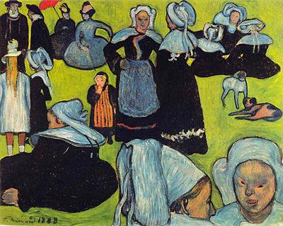 Emile Bernard 1888 Le Pardon. Les Bretonnes dans la prairie coll part 74 x 93 cm