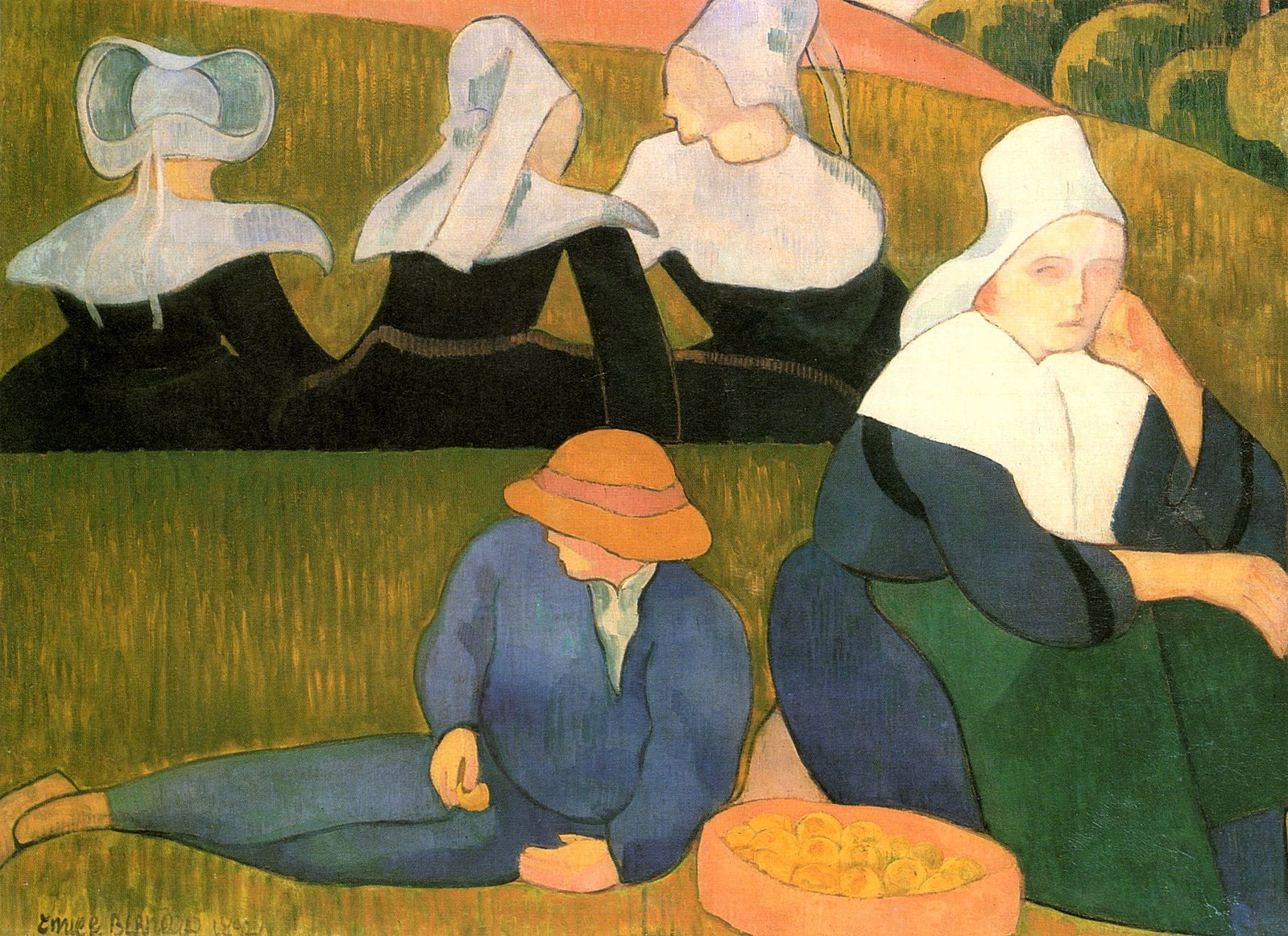 Emile Bernard, Breton Peasants in a Meadow, 1892. Josefowitz Collection 84x114cm