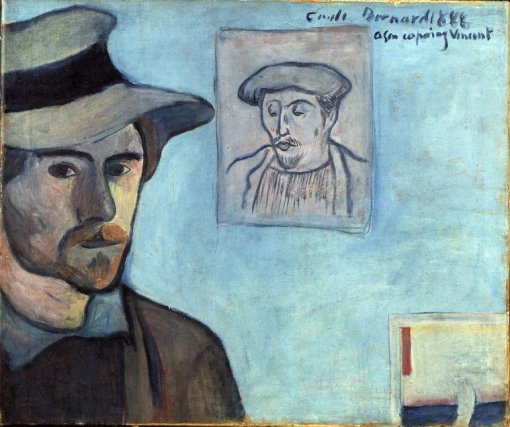 Emile_Bernard_1888_-_Self-portrait_with_Gauguin_portrait_for_Vincent Van Gogh Museum
