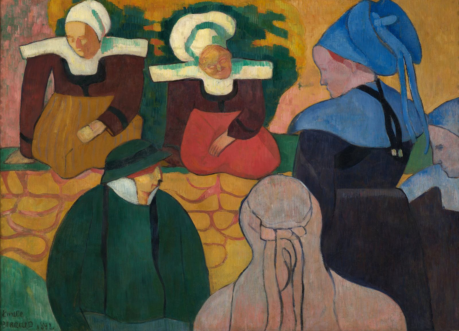 Emile_Bernard_Breton_Women_at_a_Wall 1892 Indianapolis Museum of Art 83.50 cm × 116 cm