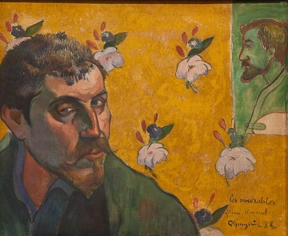 Gauguin Autoportrait avec portrait de Bernard, Les Misérables 1888 Van Gogh Museum