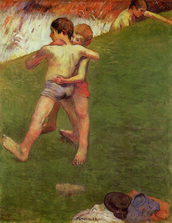 Gauguin juillet 1888 les enfants luttant Loucre d'Abu Dhabi