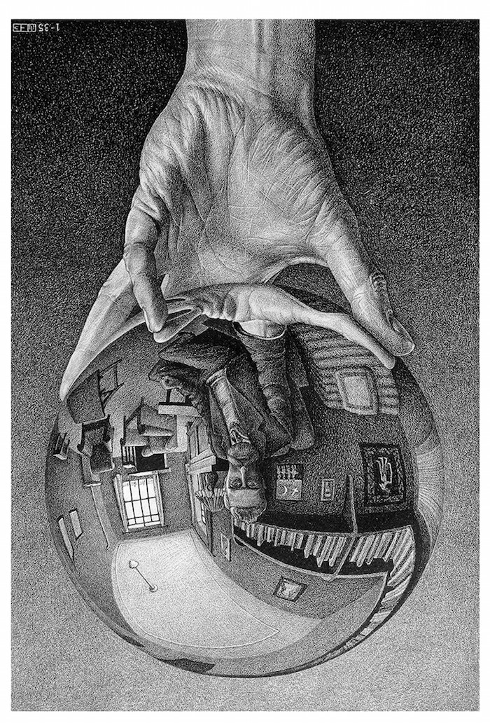 Image 2 - Main tenant un miroir spherique M. C. Escher lithographie 1935 Courtesy of the Palazzo Reale