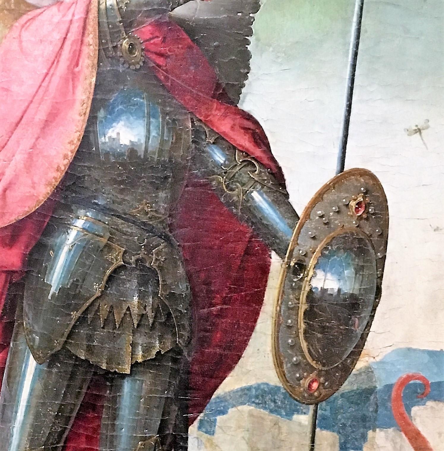 JUAN DE FLANDES 1504 ca San Miguel Tabla del Retablo de San Miguel Catedral Vieja, Musee diocesain Salamanca detail