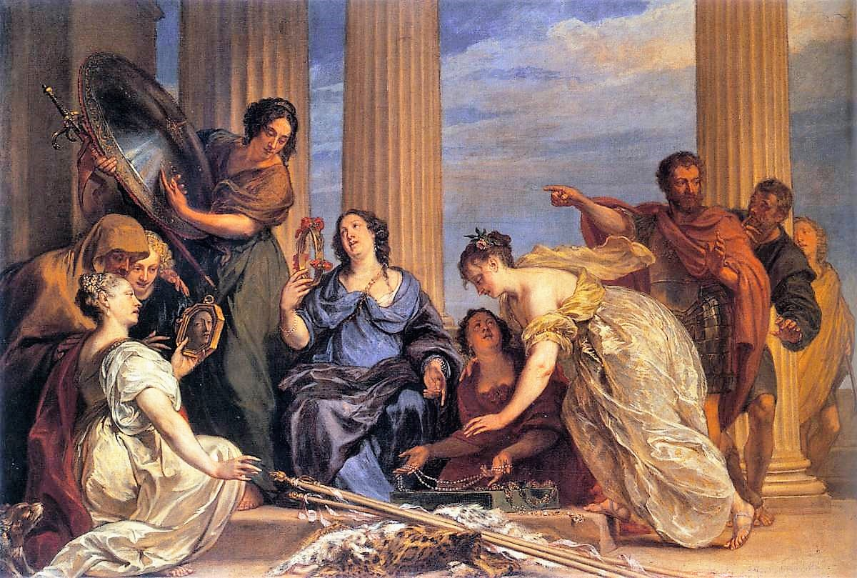 Jan Boeckhorst 1655 ca Achilles among the daughters of Lycomedes Alte Pinakothek, Munich
