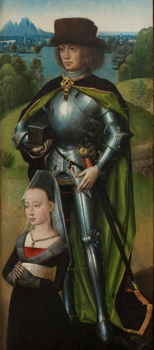 Maestro de la Leyenda de Santa Lucía 1475 ca Triptyque de la Passion volet droit Saint Adrien avec Adrienne de Vos,2eme epouse de Donas de Moor