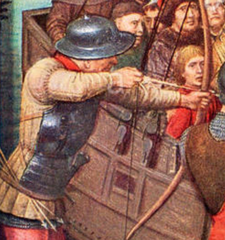 Memling 1489 Chasse de Ste Ursule Martyre a Cologne A Hopital St Jean Bruges detail