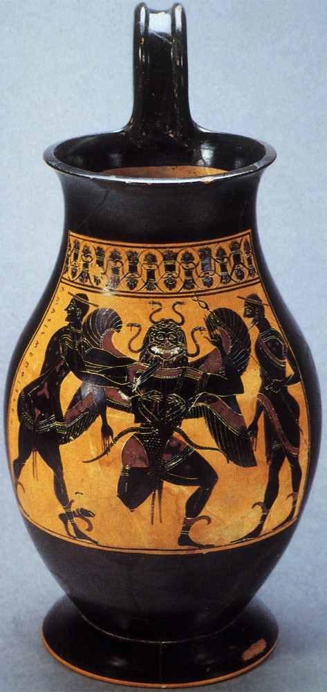 Perseus beheads Medusa. Attic Black-figure olpe by the Amasis Painter, middle of the 6th c. BC. British Museum