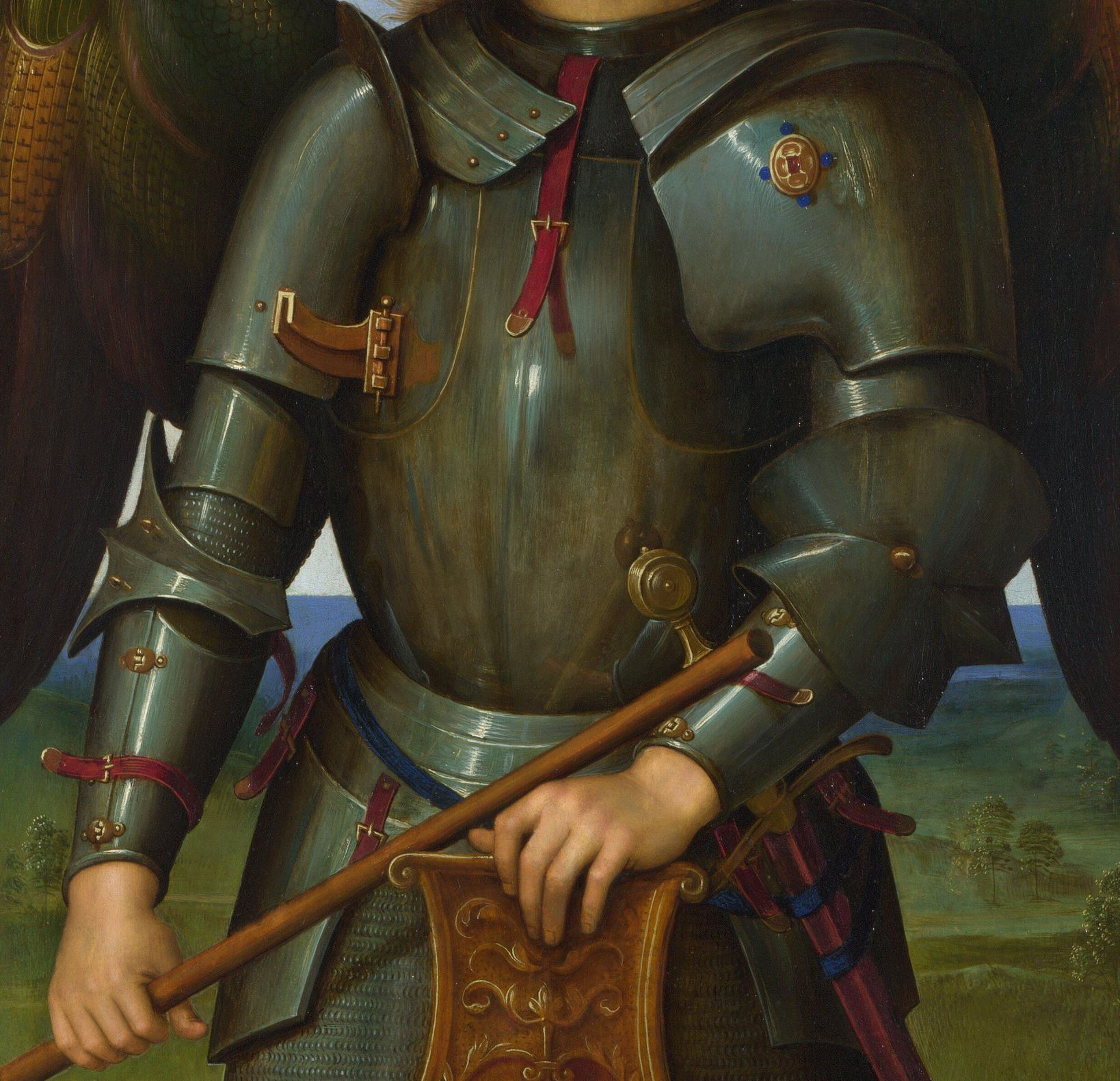 Perugin 1499_Archangel_Michael_National Gallery detail