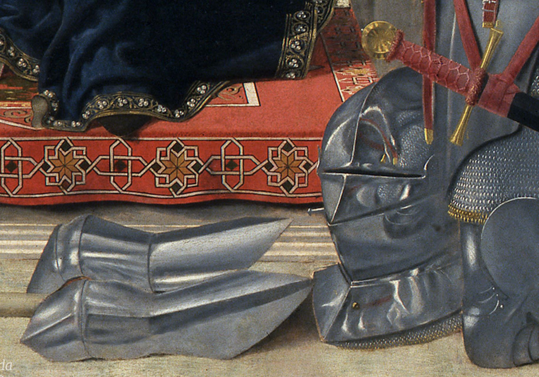 Piero della Francesa 1472 Retable de Brera (conversation sacree avec Federico da Montefeltro) Brera detail heaume