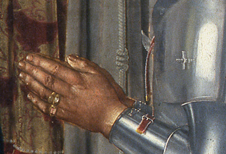 Piero della Francesa 1472 Retable de Brera (conversation sacree avec Federico da Montefeltro) Brera detail vis