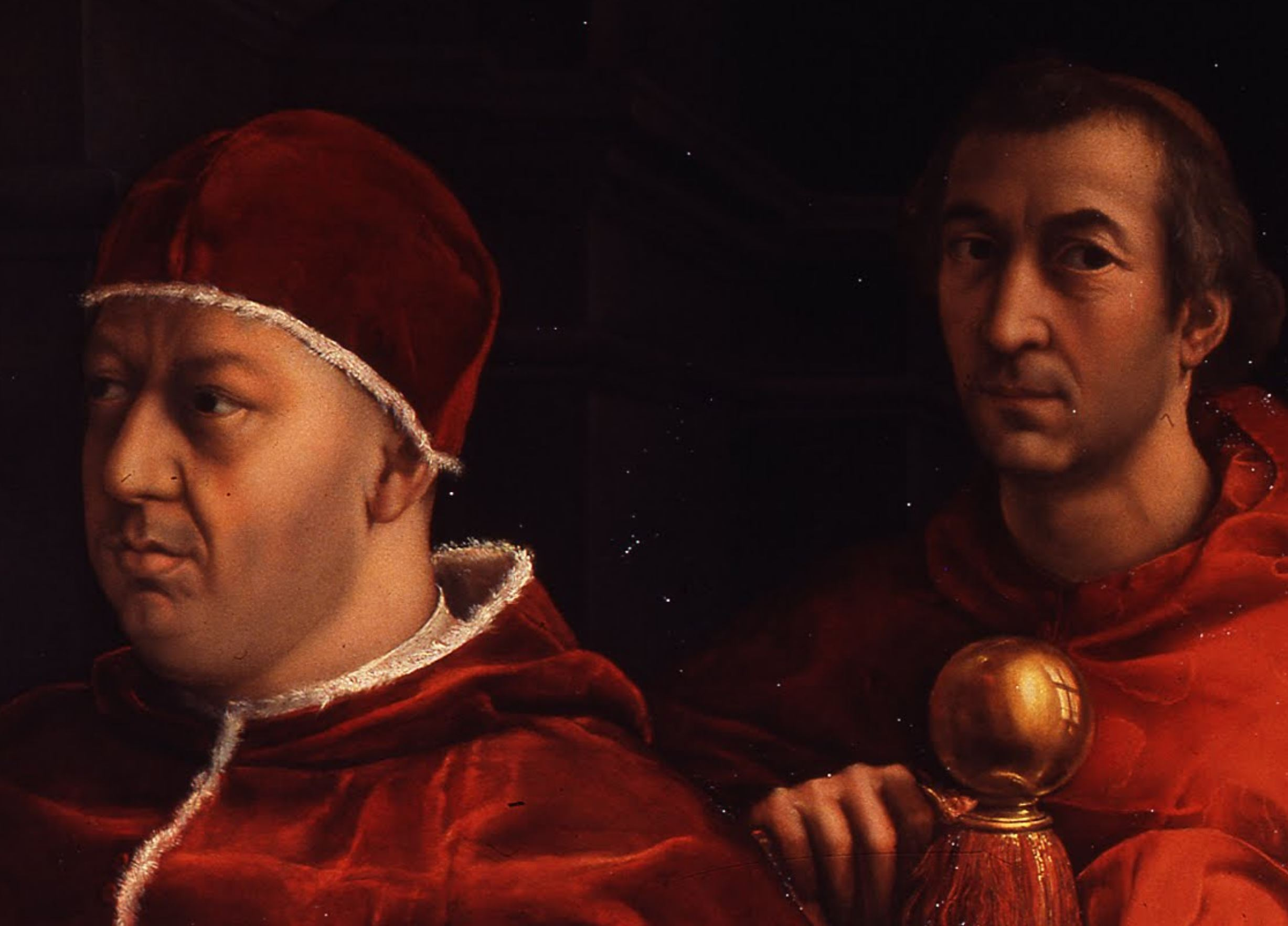 Raphael 1518 Portrait de Leon X with Cardinals Giulio de' Medici and Luigi de Rossi Offices detail