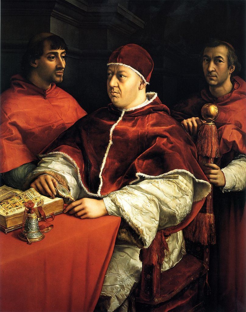 Raphael 1518 Portrait de Leon X with Cardinals Giulio de' Medici and Luigi de Rossi Offices
