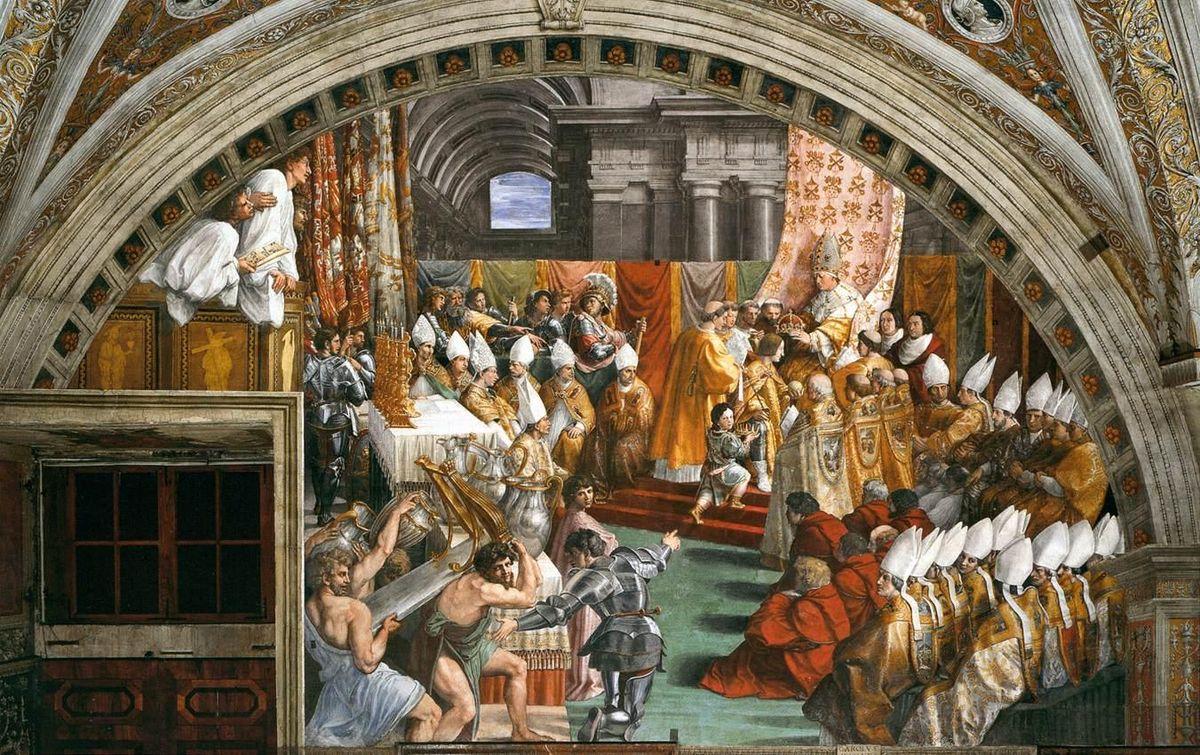Raphael et atelier 1515-16 Couronnement de Charlemagne
