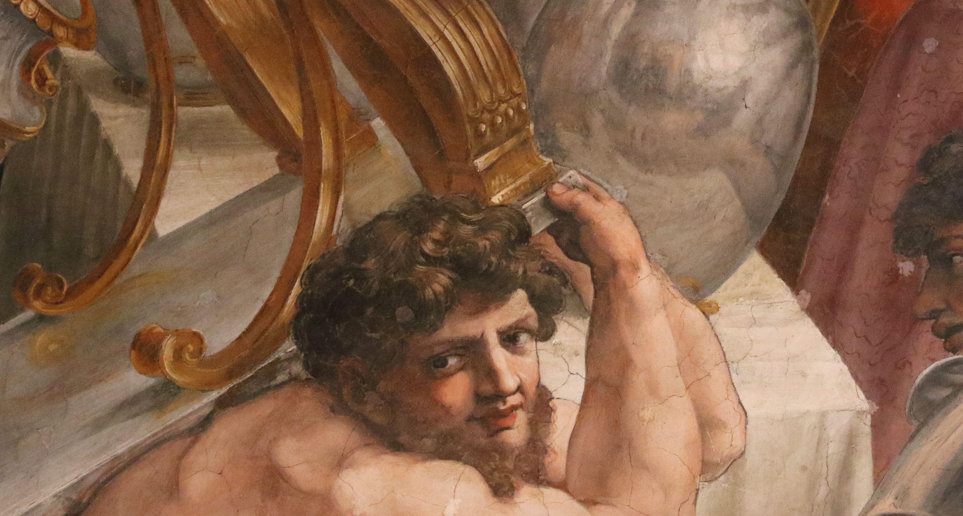 Raphel Couronnement de Charlemagne reflet vase zoom