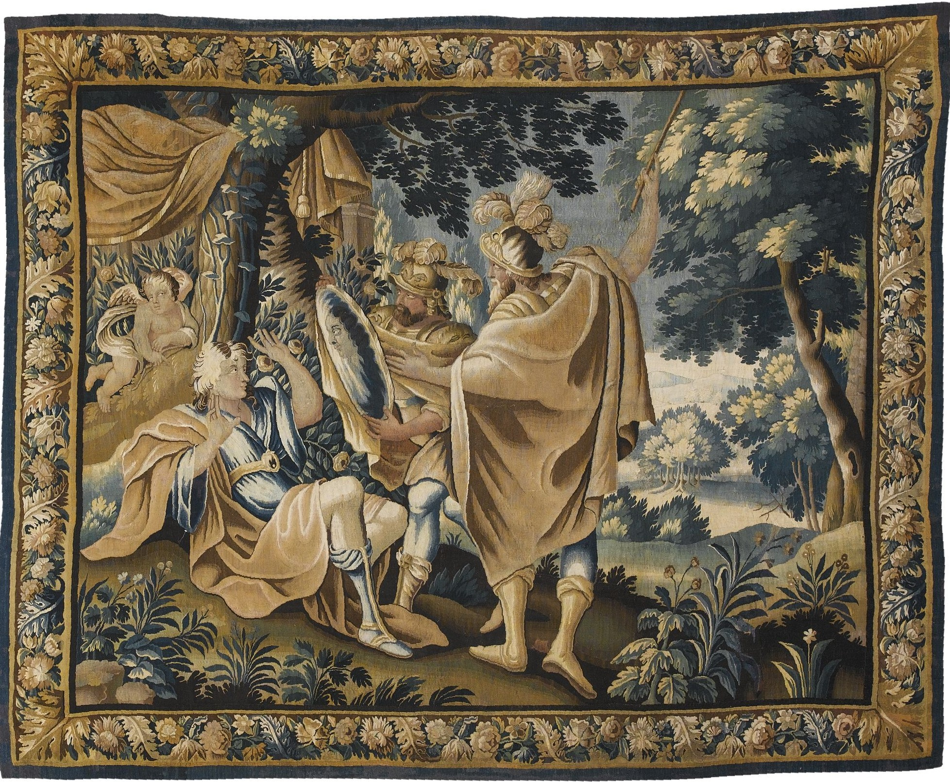 Rinaldo Views His Image in the Diamond Shield, carton Simon Vouet, Aubusson coll part