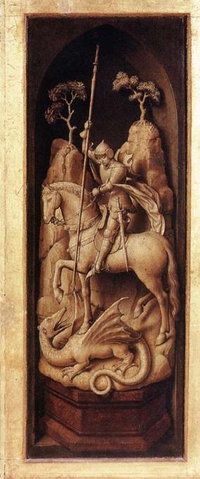 Saint Georges Triptyque Sforza (verso du panneau de droite), vers 1460 atelier de van der Weyden , Musees Royaux des Beaux Arts