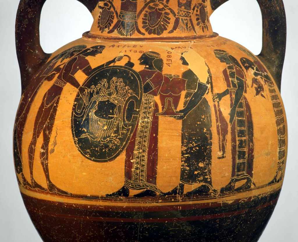The Arming of Achilles, Archaic Greek Black-figure Neck Amphora by the Camtar Painter, ca. 550 BCE Museum of Fine Arts Boston.