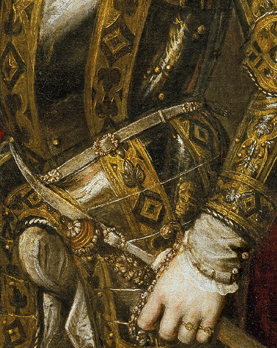 Titien Portrait de Philippe II 1551 Prado detail