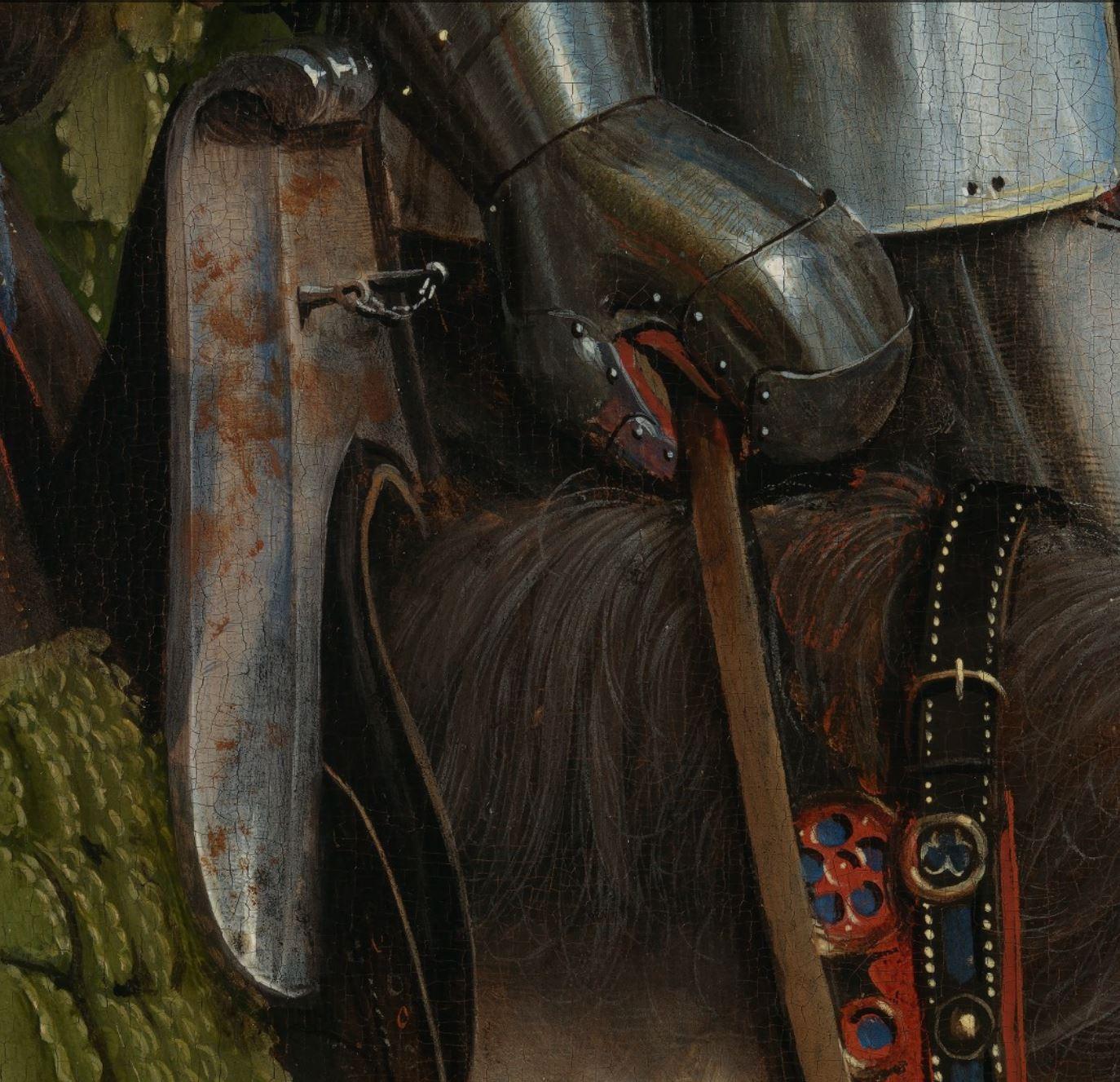 Van Eyck 1432 Les chevaliers du Christ retable de Gand detail arcon