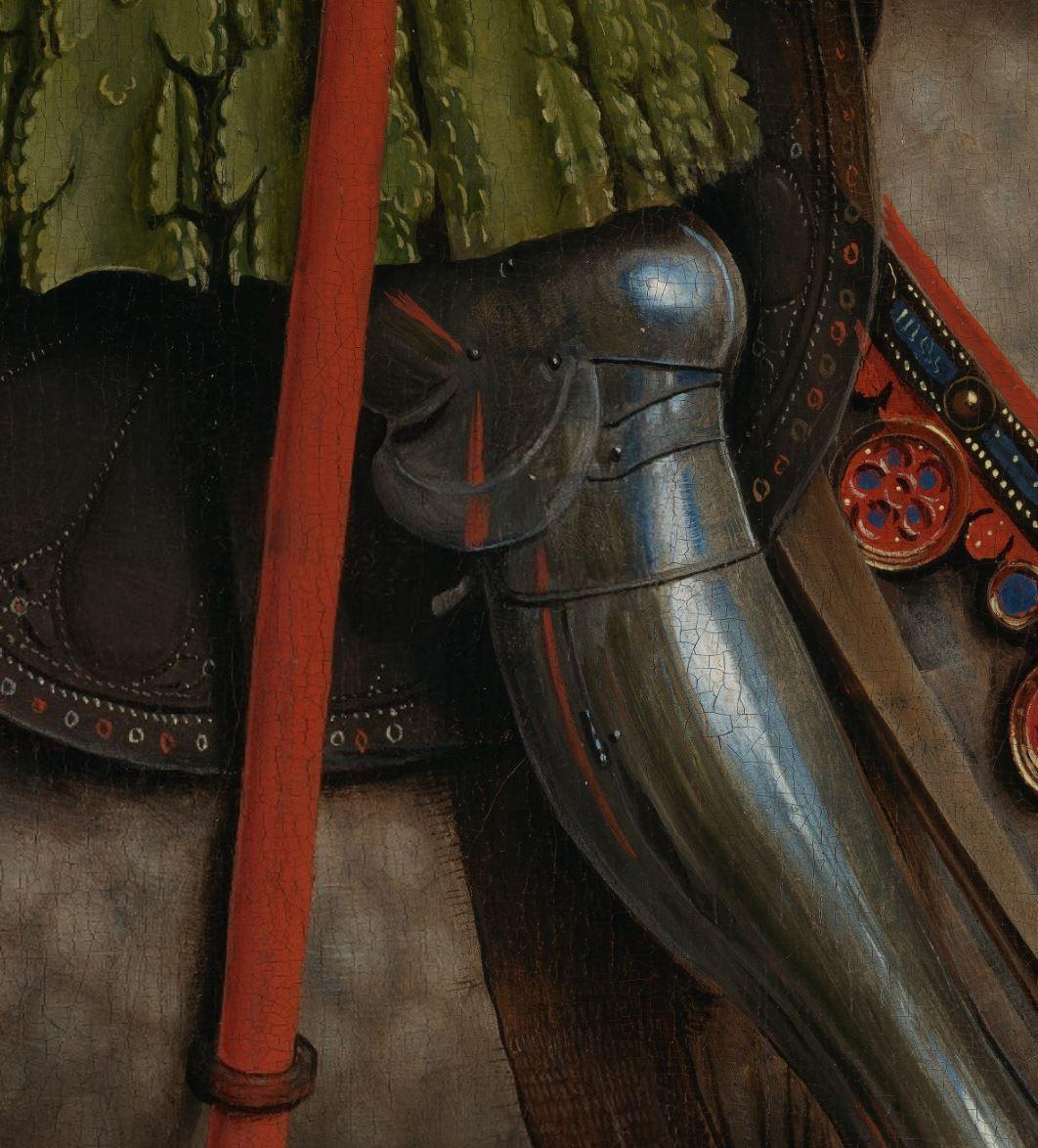 Van Eyck 1432 Les chevaliers du Christ retable de Gand detail genouillere
