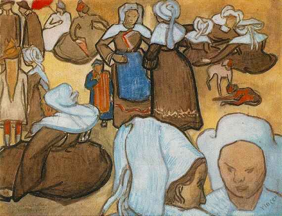 Van Gogh novembre 1888 Le Pardon. Les Bretonnes dans la prairie d'apres Emile Bernard, galerie d'art moderne de Milan