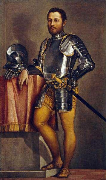 Veronese portrait d'un homme en armure coll part